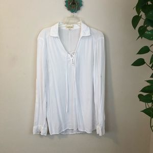 Anthropologie cloth & Stone lace up top medium